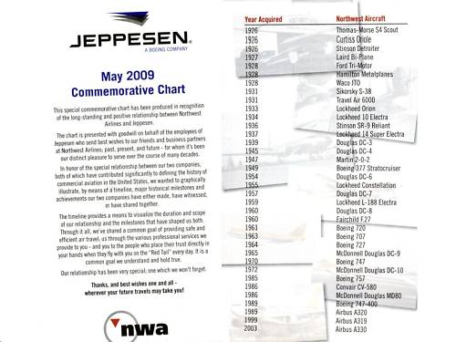 Northwest Airlines Jeppesen Commemorative Chart NWA